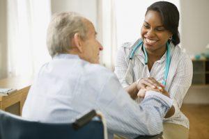 Digital health Nurse and elderly man