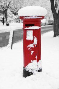 post box snow festive letter